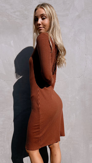 Coffee Long-sleeved Ribbed Dress