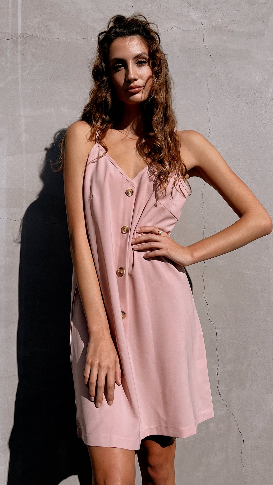 Blush Pink Button Down Mini Slip Dress