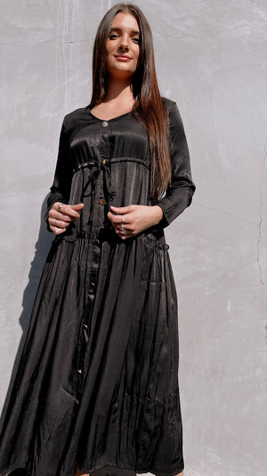 Black Long Sleeve Drawstring Dress