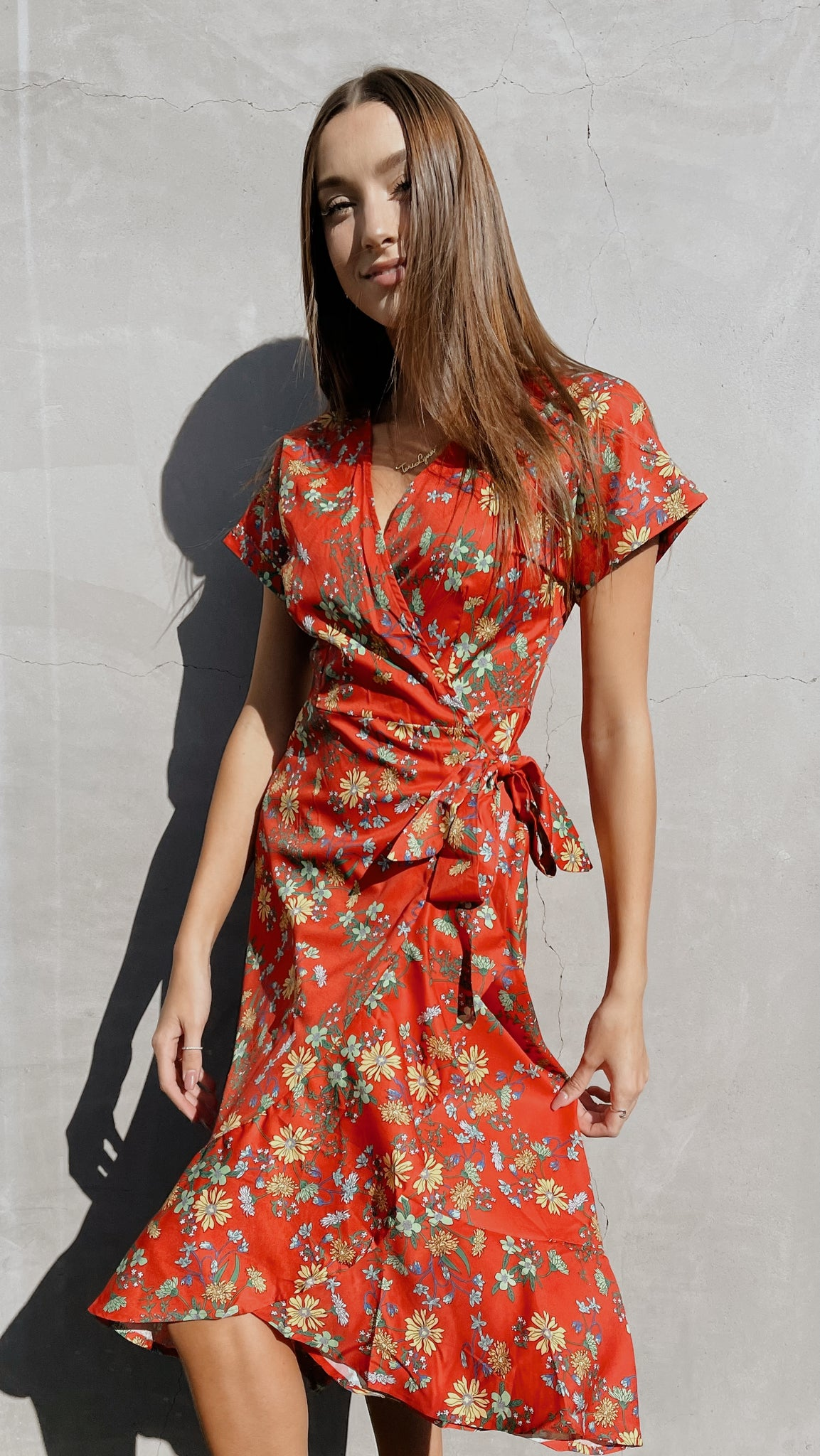 Rose Floral Wrap Dress
