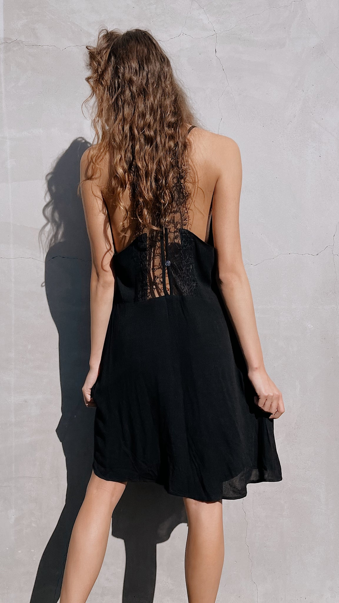 Black Lace V-Neck Dress