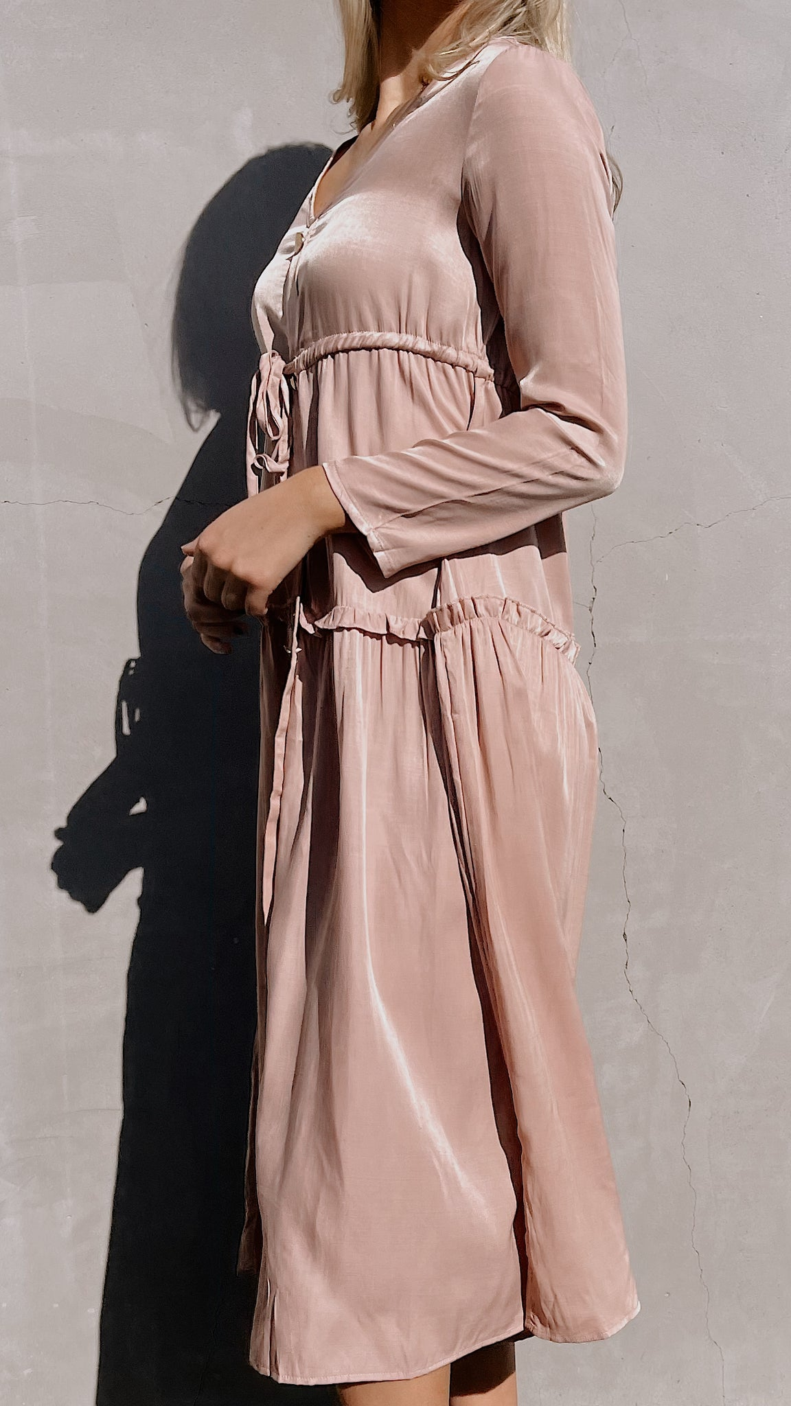 Pink Long Sleeve Drawstring Dress