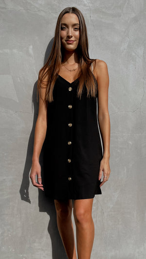 Black Button Down Mini Slip Dress