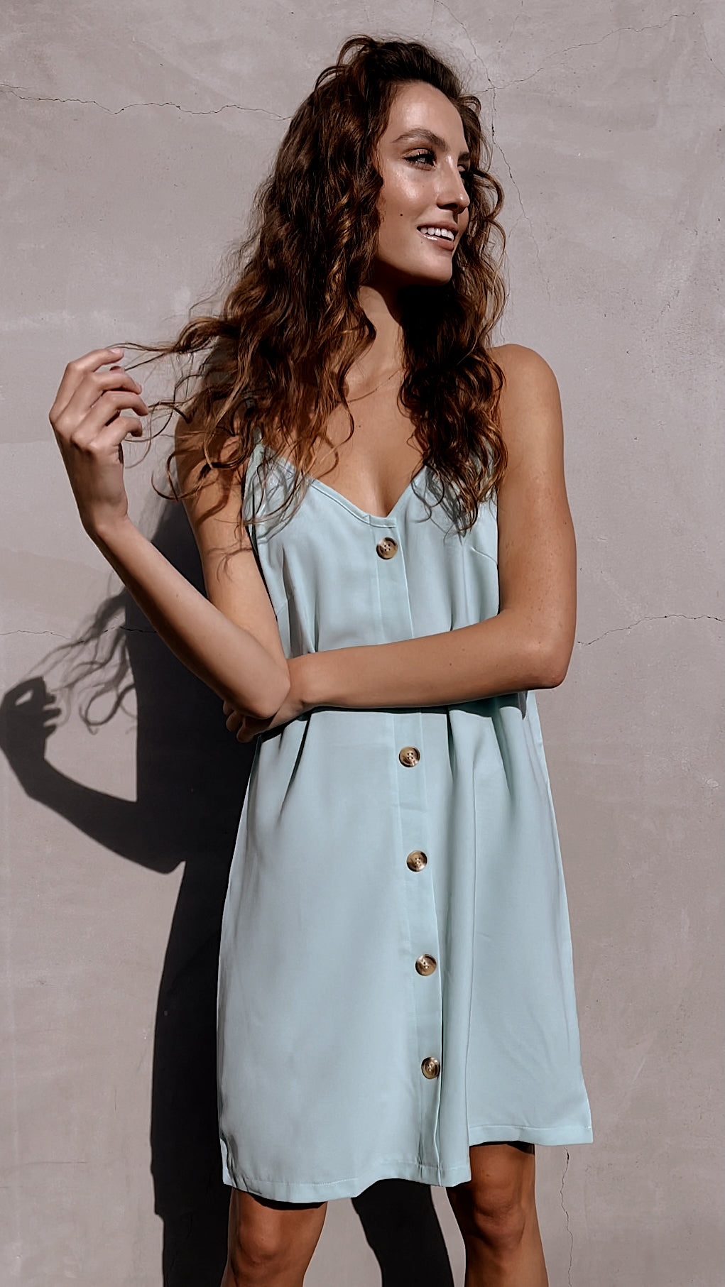 Mint Green Button Down Mini Slip Dress