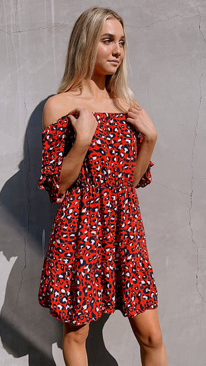 OFF-Shoulder Red Leopard Print Mini Dress