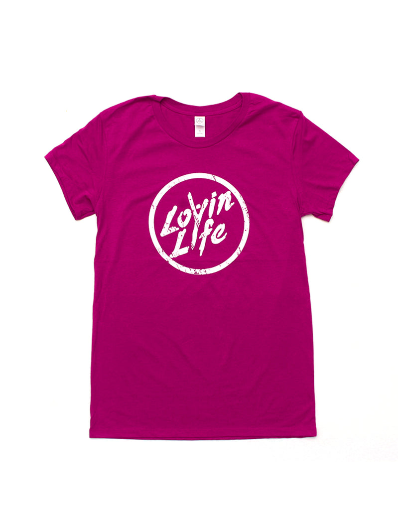 Women's Distressed Logo Tee - Fire Berry