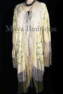 Embroidered Silk Opera Coat Kimono Fringe Jacket Birds & Flowers Pastels Greens