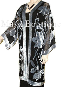 Kimono Jacket Silk Burnout Velvet Long Silver Black No Fringe Maya Matazaro