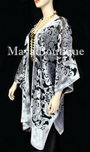 Maya Matazaro Baroque Burnout Velvet Caftan Kimono Jacket Silver Black USA Made