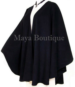 Black Cape Ruana Wrap Coat Wool Cashmere Blend by Maya Matazaro USA Made