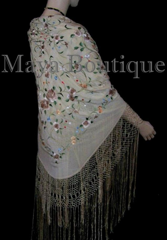Maya Matazaro Flamenco Embroidered Silk Piano Shawl Wrap Fringed Scarf Beige 84