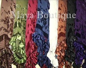 Purple Shawl Scarf Wrap Silk Burnout Velvet Bead Triangle Ruffles Maya Matazaro