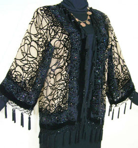 Short Flapper Jacket Kimono Beaded Silk Burnout Velvet Spider Black & Tan New