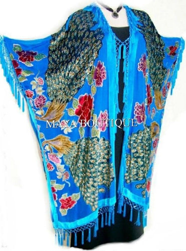 Kimono Opera Coat Beaded Burnout Velvet Peacock & Rose Turquoise Maya Matazaro