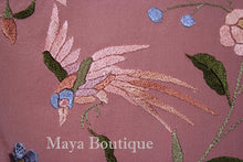 "Salmon Rose Flamenco Embroidered Silk Piano Shawl Wrap Flower & Birds 84"" Maya"
