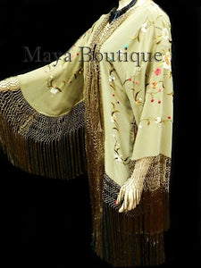 Silk Fringe Jacket Kimono Flapper Coat Embroidered Light Olive Maya Matazaro