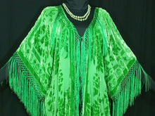 Apple Green  Kimono Duster Fringe Jacket Silk Burnout Velvet Maya Matazaro Plus