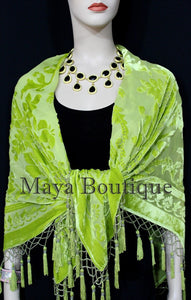 Lime Green Piano Shawl Scarf Wrap All Beaded Silk Burnout Velvet Maya Matazaro