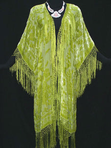 LIME SILK CAFTAN JACKET KIMONO COAT DUSTER PLUS NEW Hand Dyed Made In USA