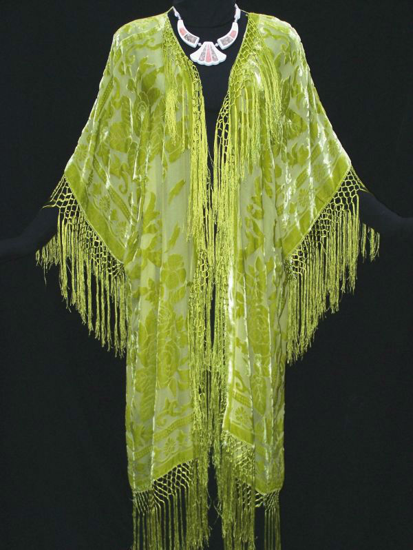 LIME SILK CAFTAN JACKET KIMONO COAT DUSTER NEW Hand Dyed Made In USA