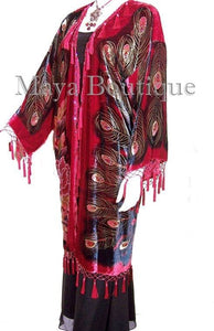 Beaded Peacock Duster Kimono Opera Coat Silk Velvet Red Multi Maya Matazaro