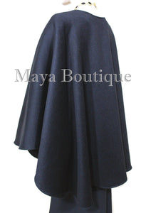 Luxurious Black Cape Ruana Wrap Coat Cashmere Camel hair Blend by Maya Matazaro