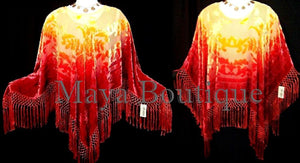 Blood Moon Colors Poncho Shawl Top Hand Dye Silk Burnout Velvet By Maya Matazaro