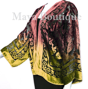 Maya Matazaro Gold Chocolate Velvet Jacket Short Kimono No Fringe Hand Dyed