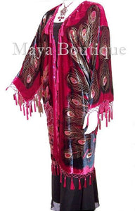 Red Beaded Peacock Duster Kimono Opera Coat Silk Velvet Maya Matazaro