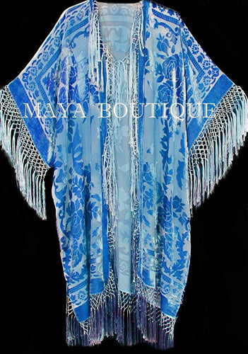 Maya Matazaro Sky Blue Silk Burnout Velvet Fringe Jacket Kimono Duster Plus