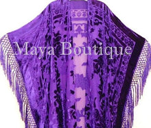 Purple Caftan Duster Fringe Jacket Kimono Opera Coat Burnout Velvet Maya Plus