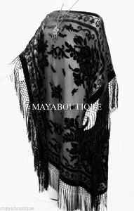 Silk Burnout Velvet Caftan Dress Duster Kimono Black Fringes Maya Dress