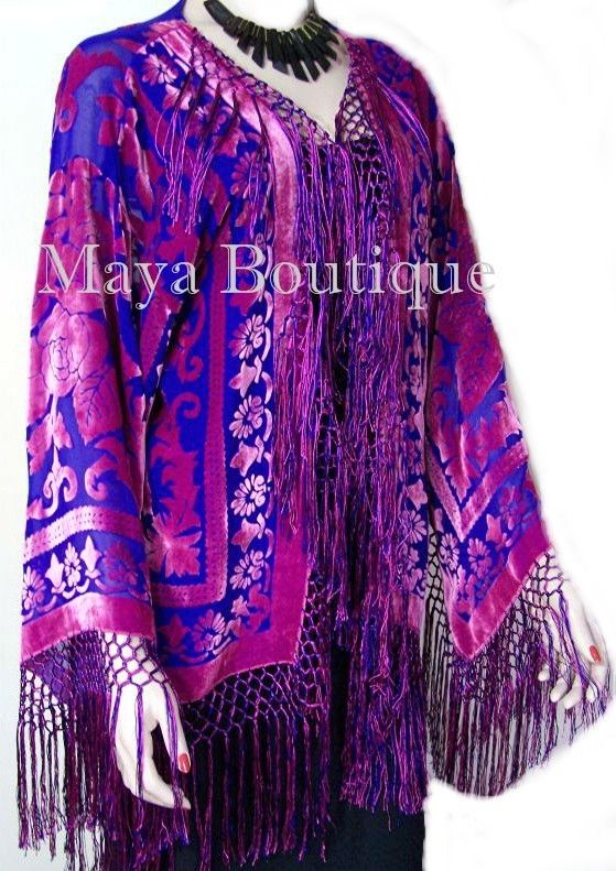 Rose & Blue Fringe Jacket Burnout Velvet Short Kimono Maya Matazaro