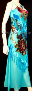 Dress Gown Turquoise Silk Burnout Velvet Beaded Victorian Roses Maya Matazaro M