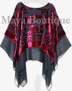 Maya Hand Dyed Layered Poncho Top Red Black Burnout Velvet & Chiffon Made In USA
