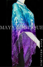 Purple Aqua Hand Dyed Poncho Shawl Top Silk Velvet Wearable Art Maya Matazaro