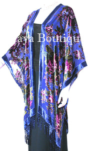 Caftan Kimono Duster Silk Burnout Velvet Royal Blue Gypsy Rose Maya Matazaro