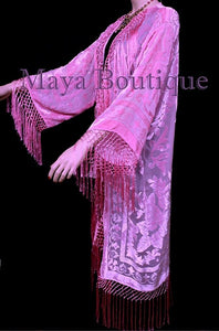 Candy Pink Silk Burnout Velvet Fringes Jacket Kimono Long Coat Maya Matazaro
