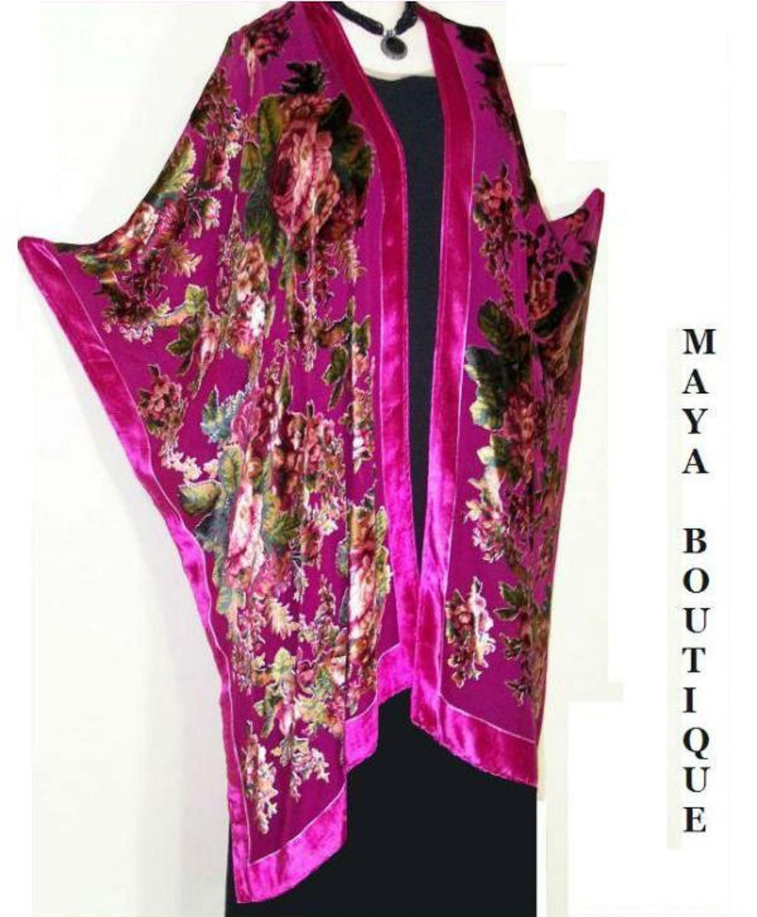 Silk Caftan Kimono Jacket Velvet Fuchsia Multi Gypsy Rose No Fringes Maya