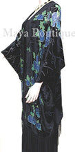 Tea Roses Caftan Kimono Burnout Velvet Black Blue Usa Made Maya Matazaro