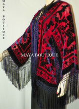 Burnout Velvet Silk Fringe Jacket Kimono Red & Navy Maya Matazaro NEW