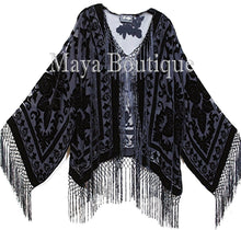 Fringe Jacket Burnout Velvet Short Kimono Black Maya Matazaro Plus size