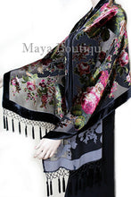 Black Wrap Scarf Shawl Silk Burnout Velvet English Rose Beaded Maya Matazaro