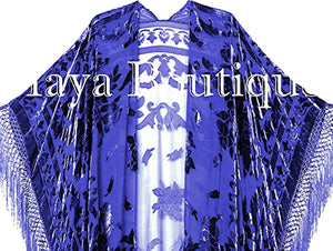 Royal Blue Caftan Duster Kimono Opera Coat Silk Burnout Velvet Maya Matazaro