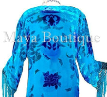 Silk Burnout Velvet Fringes Jacket Kimono Turquoise Blues Tye Dyed Maya Jackets