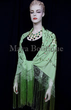 Silk Embroidered Flamenco Piano Shawl Wrap Mint Green Hand Dyed Maya Matazaro