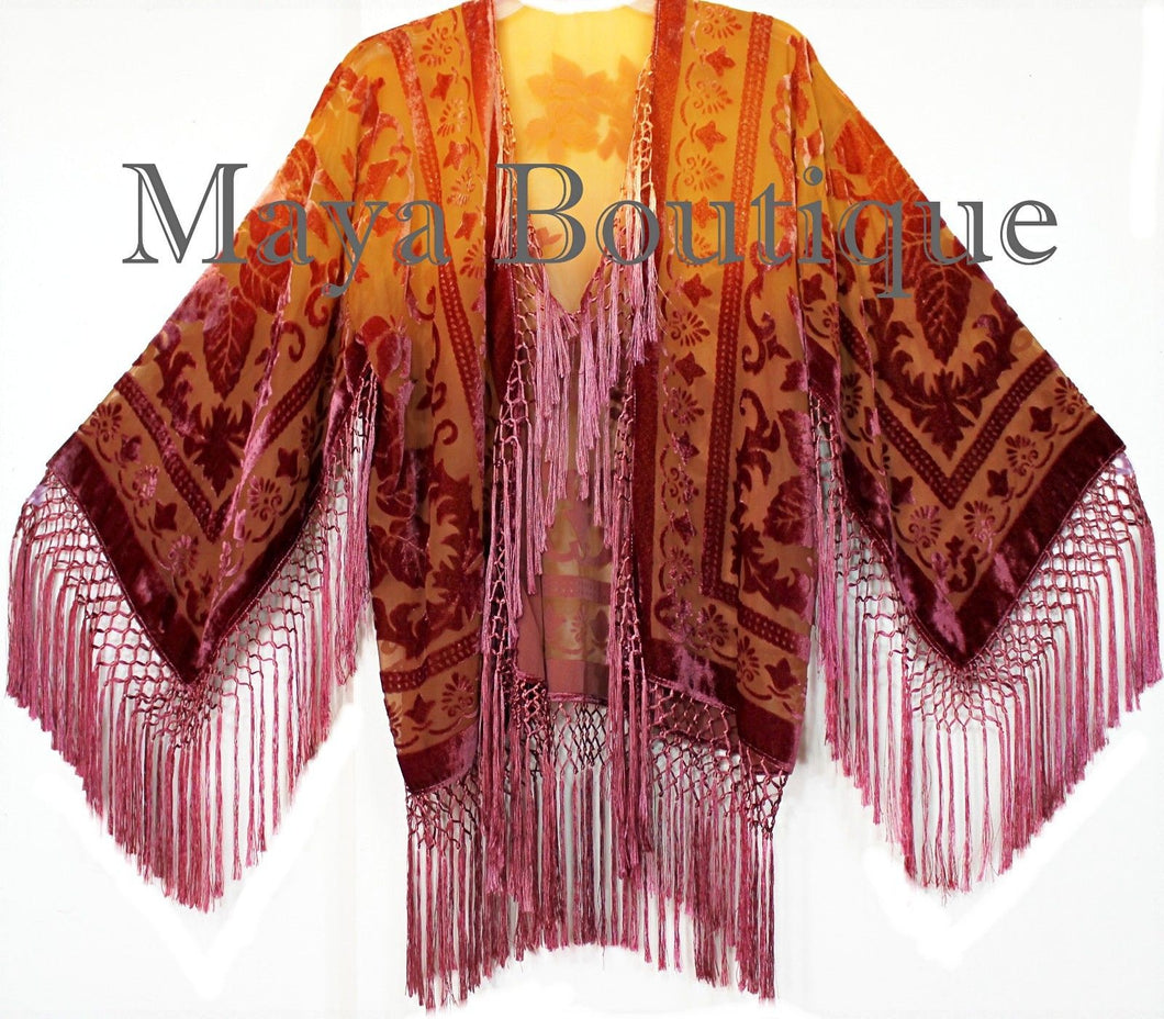 Wearable Art Velvet Kimono Jacket Hand Dyed Tangerine & Coco Short Maya Matazaro