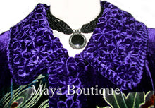 Opera Coat Duster Silk Velvet Purple Braded Collar Wearable Art 2X / 3X Maya