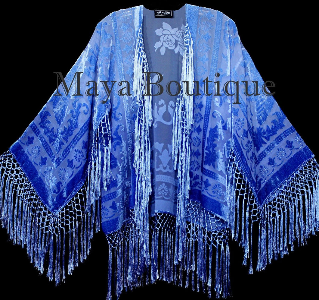 Wearable Art Blue Ombre Velvet Kimono Jacket Hand Dyed Short Maya Matazaro
