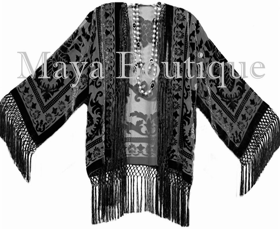 BLACK Kimono Fringe Jacket SILK Burnout Velvet Short Maya Matazaro Plus Size